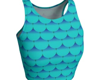 Teal Blue MERMAID CROP TOP for Women Teal Blue Mermaid Fish Scale Crop Top Festival Fashion Rave Clothing Sexy Yoga Tops Womens Crop Top