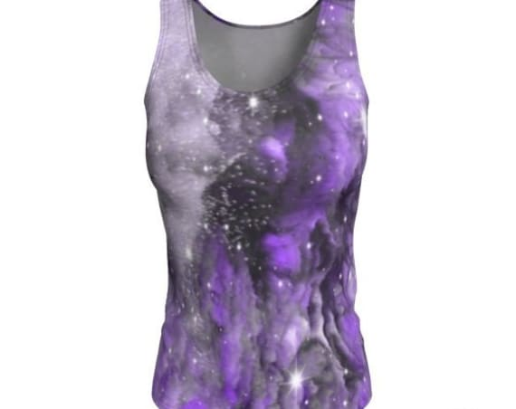 PURPLE GALAXY TOP Women's Sleeveless Tank Top Cosmic Rave Clothing Women's Workout Clothing Yoga Tank Top Fitness Clothing Running Tank Top