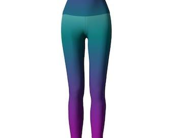 OMBRE LEGGINGS Teal Purple Rainbow Art Leggings Sexy Print Leggings Yoga Pants for Women Mermaid Leggings Womens Leggings Yoga Leggings
