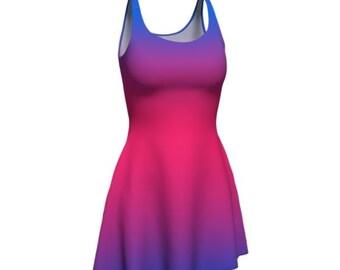 Pink and Purple DRESS Womens Flare Dress Body Con Dress Ombre Dress Sexy Print Dress Mini Dress Short Tight Dress Rave Clothing for Women