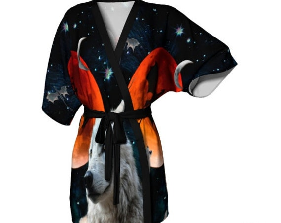 Women's KIMONO ROBE White Wolf Moon Womens Robe Arctic Wolf Dire Wolf Dragon Moon GOT Clothing Art Inspired by Game of Thrones Gift for Her