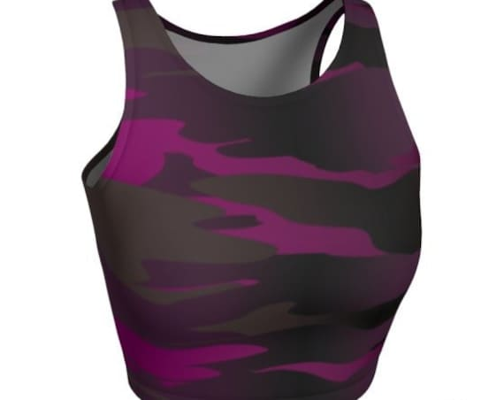 CAMOUFLAGE CROP TOP Womens Camouflage Print Athletic Crop Top Camo Crop Tops for Women Workout Clothing Activewear Cycling Tops Yoga Top