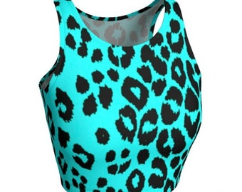CHEETAH Top Women's CROP TOP Cheetah Print Crop Top Animal Print Clothing Cycling Clothing Rave Crop Top Gym Clothing Work Out Top Yoga Top