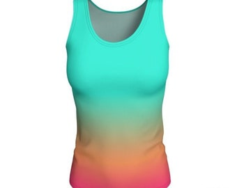 TANK TOP WOMENS Work Out Tank Top Rainbow Ombre Yoga Top Womens Work out Clothing Gym Tank Top Cycling Clothing Scoop Neck Running Tank Top