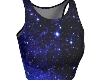 Blue Galaxy CROP TOP Womens Clothing Work out Top Womens Tops Activewear Clothing Yoga Top Glitter Galaxy Top Soul Cycle Fitness Top