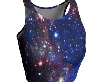 CROP TOP WOMENS Athletic Crop Top Sparkly Galaxy Print Workout Fashion Top Fitness Top Workout Clothing Running Top Cross-fit Gym Top Shirt