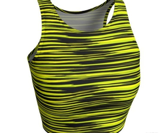 Crop Top WOMENS CROP TOP Yellow & Black Striped Yoga Top Workout Top Fitness Top Gym Workout Clothing For Women Rave Clothing Festival Top