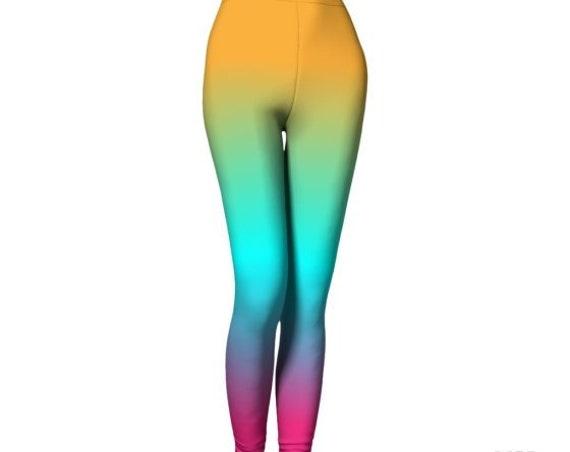 Rainbow LEGGINGS Womens Ombre Leggings Yoga Leggings Sexy Print Leggings Yoga Pants Burning Man Leggings WORK OUT Leggings Art Leggings