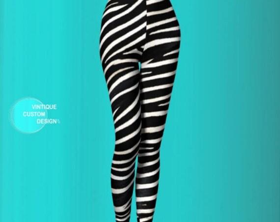 ZEBRA LEGGINGS Black and White Animal PRINT Leggings Womens Zebra Leggings Yoga Leggings Zebra Yoga Pants Zebra Print Clothing Eco Fashion