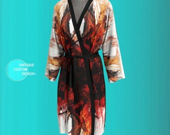KIMONO ROBE PEIGNOIR Japanese Kimono Robe Long Kimono Robe Mothers Day Gift for Mom Gift for Wife Gift for Girlfriend Sexy Lingerie for Her