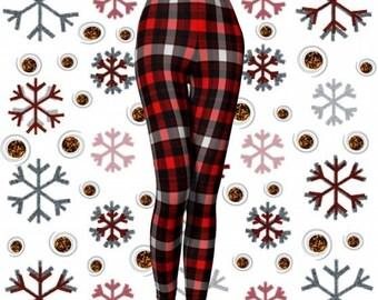 Red PLAID LEGGINGS Womens Plaid Leggings Red Black White Buffalo Check Plaid Leggings Sexy PRINT Leggings Sexy Womens Leggings Yoga Pants