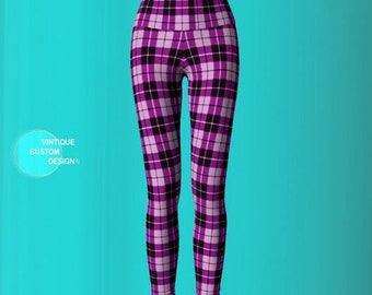 PLAID YOGA PANTS - Tartan Plaid - Leggings for Women - Womens Clothing - Sexy Print Leggings - Sexy Yoga Pants - Sexy Leggings Womens Purple