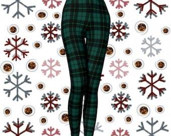 GREEN Tartan PLAID LEGGINGS Womens Leggings Yoga Leggings Womens Yoga Pants Printed Leggings Christmas Leggings Green + Black Gift for Her
