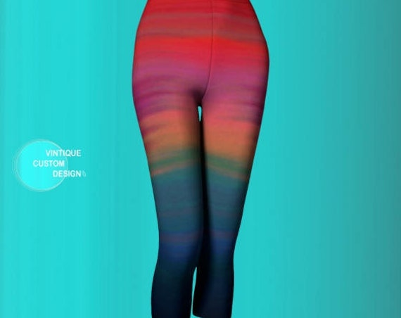Rainbow Ombre Capri LEGGINGS YOGA PANTS for Women Sexy Print Leggings Sexy Yoga Leggings Workout Clothing Running Capri Pants Burning Man