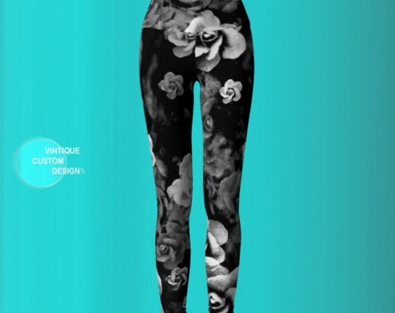 LEGGINGS, DESIGNER Yoga Pants, WOMENS, Fashion, Yoga Pants, Floral Print, Floral, Print, Fashion, Roses, Rose, Leggings, Black, White, Grey