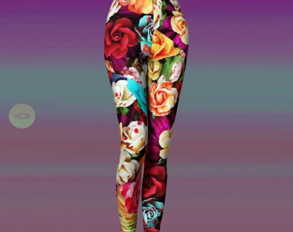 LEGGINGS YOGA PANTS Rainbow Flower Print Leggings for Women Sexy Print Leggings Sexy Yoga Pants Sexy Yoga Leggings Spring Leggings for Women