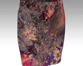 SKIRT Womens Fitted Skirt Abstract Art Print Skirt for Women Slim Mini Skirt Golden Bronze and Purple Abstract Art Designer Fashion Skirt