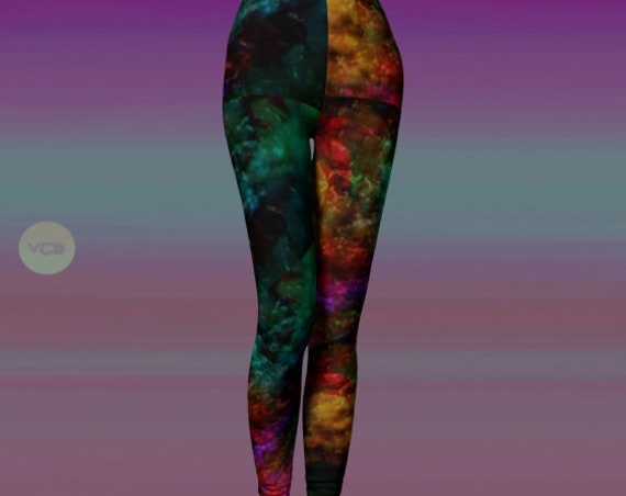 LEGGINGS Rainbow Art PRINT Leggings Womens Sexy Leggings FESTIVAL Leggings Rave Clothing Burning Man Leggings Designer Art Leggings Print
