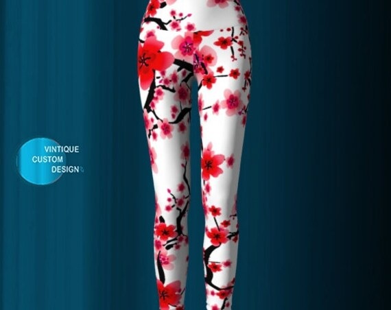 Cherry Blossom YOGA LEGGINGS WOMENS Yoga Pants Printed Leggings Spring Leggings Easter Leggings Gift for Mom Flower Leggings Red and White