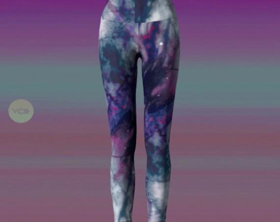 Painted Art LEGGINGS Womens Festival Fashion YOGA PANTS Galaxy Leggings for Women Yoga Leggings for Burning Man Paint Leggings Rave Leggings