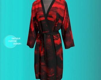 ROBE PEIGNOIR Kimono Robe Womens Red Japanese Kimono Robe Long Kimono Womens Robes Mothers Day Gift Gift for Wife Gift for Her Gift for Mom