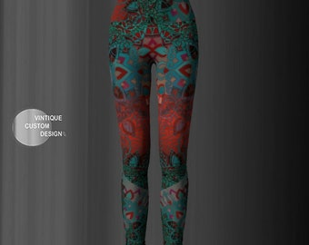 LEGGINGS YOGA PANTS Sexy Print Leggings Sexy Womens Leggings Festival Clothing Burning Man Leggings Lotus Flower Leggings Sacred Geometry