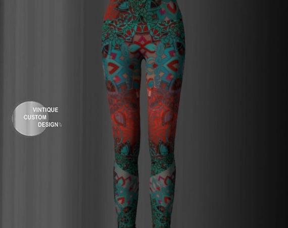 LEGGINGS YOGA PANTS Sexy Print Leggings Sexy Womens Leggings Festival Clothing Burning Man Leggings Lotus Flower Leggings Sacred Geometry