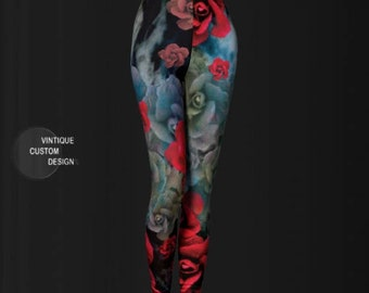 Leggings WOMENS Roses in the Galaxy Sea Art Print Yoga Leggings YOGA PANTS Festival Fashion Leggings Roses Floral Print Festival Fashion