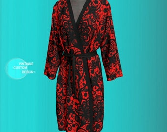 ROBE for Women PEIGNOIR Kimono Robe Womens Kimono Robe Long Kimono Womens Robes Luxury Robes Lingerie Robe Gift For Wife Red and Black Lace