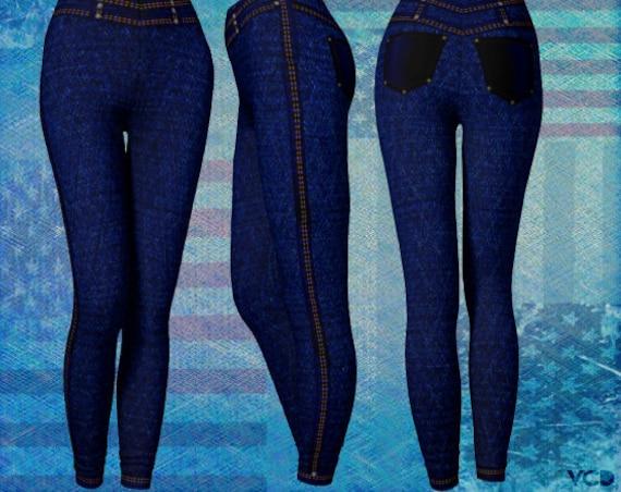 Denim LEGGINGS Blue Denim Faux JEAN Leggings Women's Yoga Leggings Yoga Pants for Women Blue Jean Pant Leggings Printed Leggings with Seams