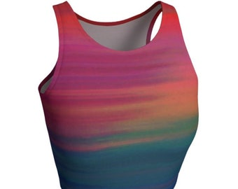 Rainbow Rave CROP TOP Womens Club Clothing Rave Clothing Festival Outfit Burning Man Top Shirt for Women Yoga Top Work Out Top Sexy Crop Top