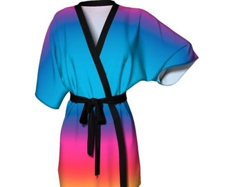Kimono Robe WOMENS Turquoise Rainbow Ombre KIMONO Robe Ombre Womens Robe Sexy Gift for Wife Gift for Her Gift  Beach Cover Up Summer Robe
