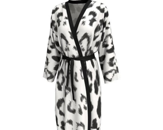 Black & White Cheetah Print Long KIMONO ROBE Womens Kimono Robe PEIGNOIR Robe Animal Print Robe Sexy Gift for Wife Gift for Mom Gift for Her