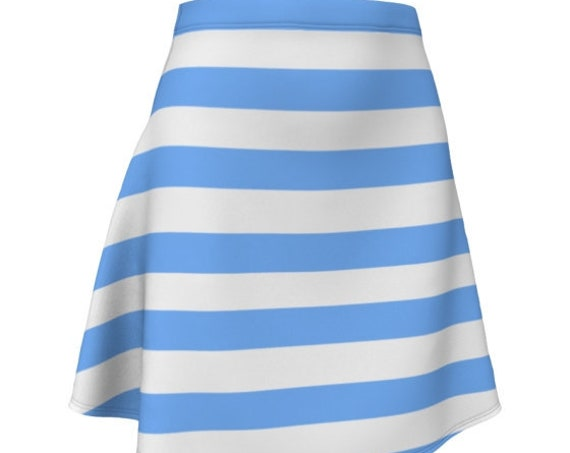 Boat SKIRT Women's Striped Designer Fashion Skirt Blue and White Striped in Fitted or Flare Styles Summer Clothing Beachwear Tennis Skirt