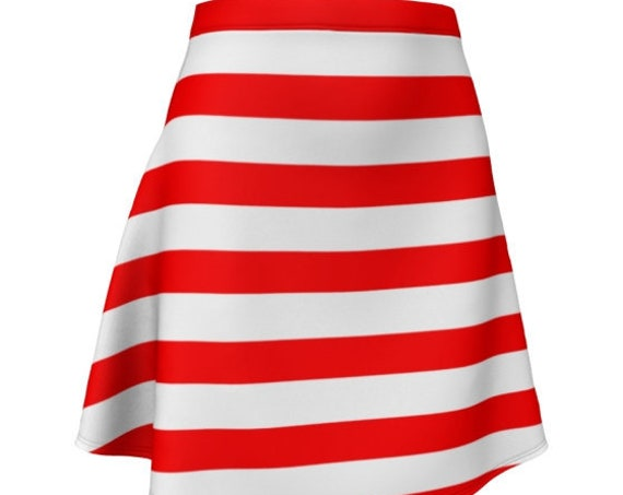 CANDY CANE SKIRT Red and White Striped Skirt Valentines Day Skirt Fitted or Flare Styles Designer Fashion Skirt for Women Christmas Clothing