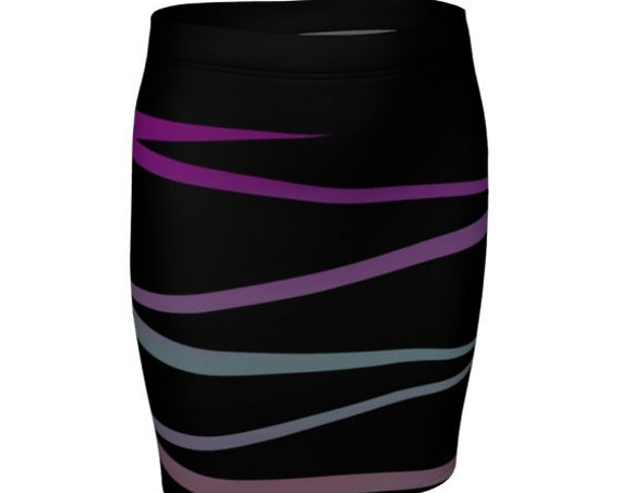 Retro Fashion 80's Style  MINI SKIRT Women's Clothing Designer Fashion Skirt for Women Ombre Skirt High Waisted Skirt Fitted Slim Fit Skirt