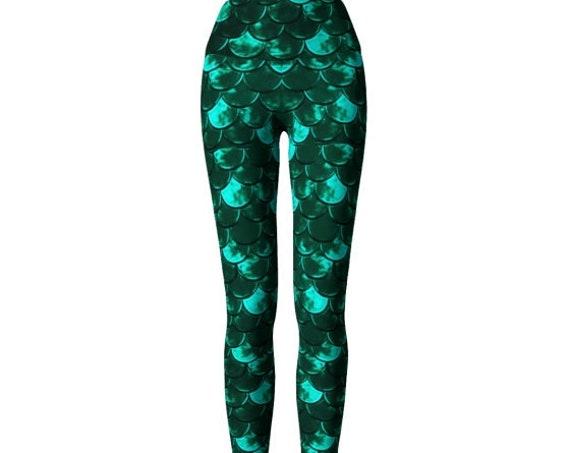 MERMAID SCALE LEGGINGS for Women Mermaid Yoga Leggings Mermaid Yoga Pants Fish Scale Leggings Green Mermaid Leggings Workout Pants Women's