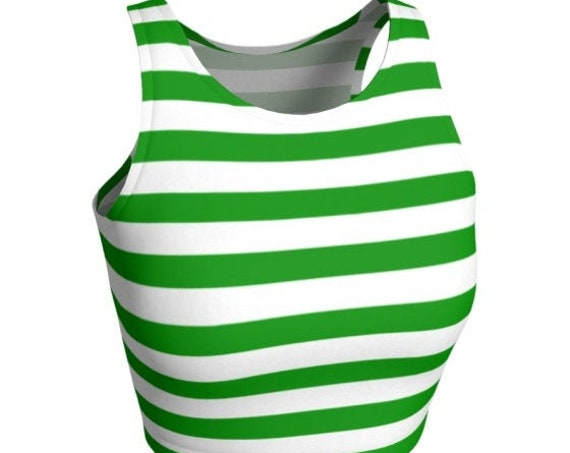 Women's CROP TOP Green and White Striped Cropped Top Women's Crop Top Bralette Sports Bra Women's Crop Top Women's Clothing Top Yoga Top