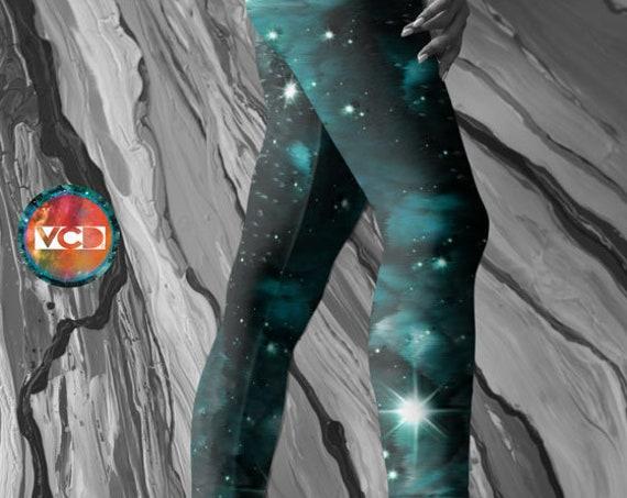 Emerald GALAXY LEGGINGS Green Yoga Pants Womens Leggings Star Leggings Space Leggings Sci-Fi Leggings WOMENS Yoga Pants Celestial Clothing