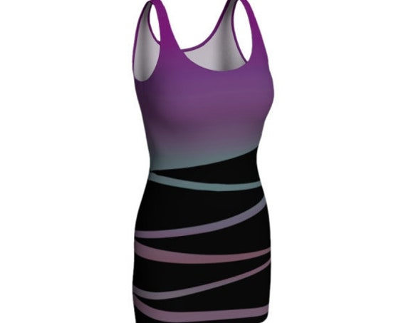 Women's BODY-CON DRESS Purple and Black Retro 80's Slim Cut Designer Fashion Print Dress Sleeveless Mini Dress Festival Clothing Rave Dress