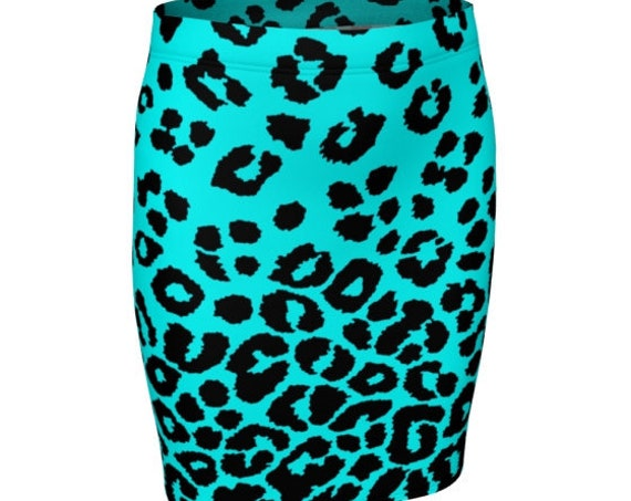 Teal CHEETAH SKIRT Animal Print Skirt Black and White Cheetah Print Skirt Women's Designer Skirt High Waisted Skirt Fitted Skirt Flare Skirt