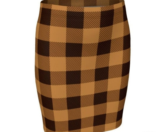 PLAID SKIRT Orange and Black Fall Skirt Fall Fashion Skirt Plaid Skirt for Women Flare High Waisted Skirt or Slim Fitted Skirt 90's Fashion