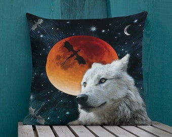 """Dire WOLF Game of Thrones Decorative THROW PILLOW Moon Galaxy Stars Arctic Wolf White Wolf Dragon Pillow Double Sided Print 18"""" x 18"""" Throw"""