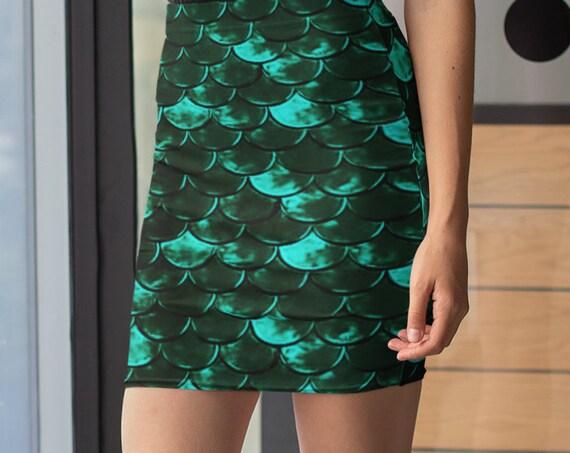 MERMAID SCALE SKIRT Women's Designer Fashion Skirt Mermaid Skirt Ariel Costume Skirt Cosplay Skirt High Waisted Fitted Skirt Flare Skirt