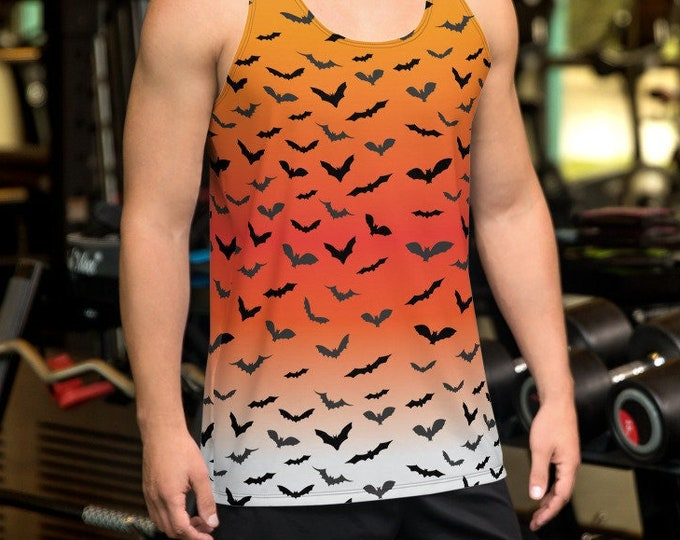 Mens HALLOWEEN TANK TOP Halloween Bat Tank Top Orange and Black Ombre All Over Print Tank Top for Men Halloween Tank Top Sleeveless Tank Top