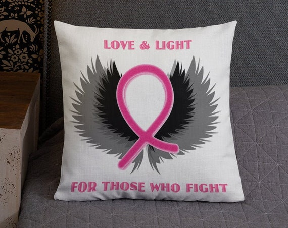 PINK RIBBON Decorative Pillow Mastectomy Recovery Pillow Throw Pillow Couch Pillow Bed Pillow Breast Cancer Survivor Gift Pink Ribbon Gift