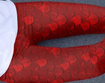 Red DRAGON LEGGINGS for Women Mermaid Fish Scale Yoga Leggings Yoga Pants Game of Thrones Cosplay Fashion Leggings Womens Printed Leggings