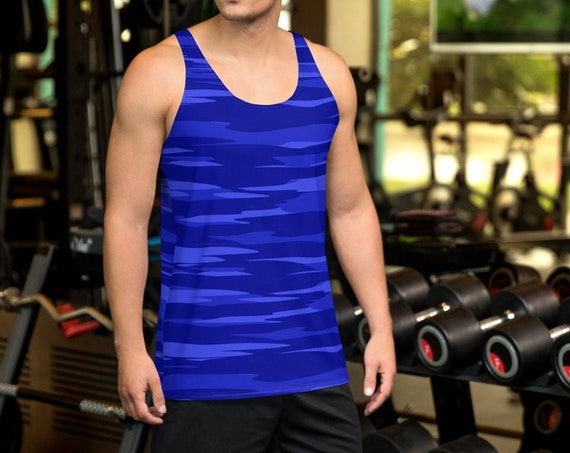 BLUE CAMOUFLAGE TANK Mens Camouflage Tank Top Blue Camouflage Print Shirt for Men Athletic Tank Top Workout Tank Top Gym Tank Top for Men