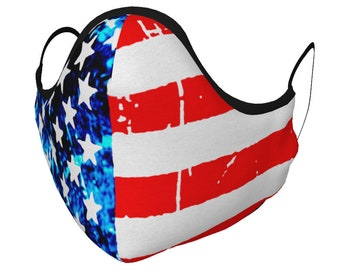 American Flag MASK USA Face Mask Face Covering Red White and Blue Stars & Stripes Mask Unisex Adult + Youth Protective Mask PM 2.5 Filters