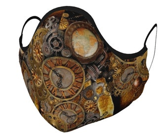 STEAMPUNK MASK Face Mask Face Covering Steam Punk Face Mask w/ PM 2.5 Filters Unisex Adult + Youth Sizes Gears & Clock Print Protective Mask